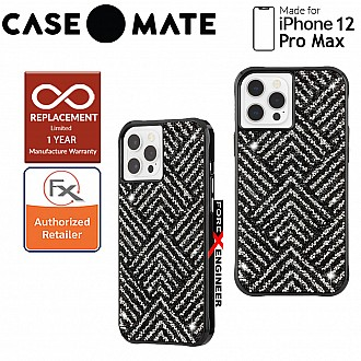 """Case Mate Brilliance for iPhone 12 Pro Max 5G 6.7"""" - Herringbone Black with MicroPel (Barcode: 846127195881 )"""