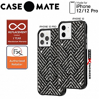 """Case Mate Brilliance Crystal with MicroPel for iPhone 12 / 12 Pro  5G 6.1"""" - Herringbone Black (Barcode: 846127196239 )"""