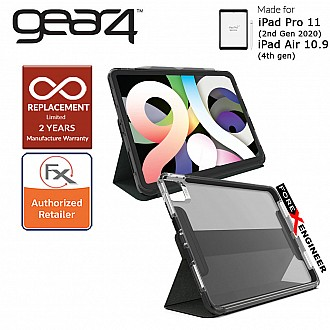 "Gear4 Brompton + Folio for iPad Air 10.9"" (4th Gen) / iPad Pro 11 (2nd Gen 2020) - D3O Material Technology - Drop Resistant Up to 4 meters -Smoke Color (Barcode : 840056132948 )"