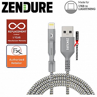 Zendure 100cm SuperCord Kevlar USB to Lightning Cable - Gray Color (Barcode : 857348008157 )