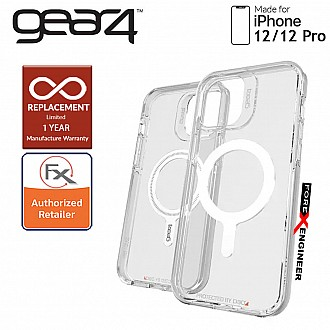 """Gear4 Crystal Palace Snap for iPhone 12 / 12 Pro 5G 6.1"""" - D3O Material Technology - Drop Resistant Up to 4 meters - Clear (Barcode : 840056138131 )"""