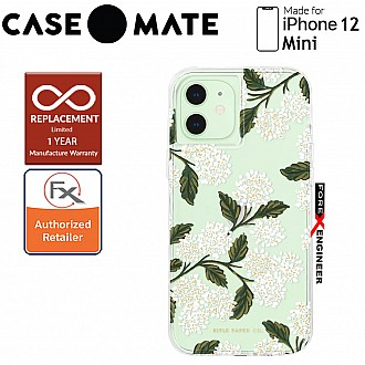 """Case Mate Rifle Paper Co. for iPhone 12 Mini 5G 5.4"""" - Hydrangea White with MicroPel (Barcode: 846127196628 )"""