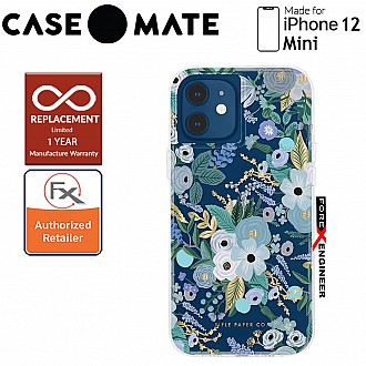 """Case Mate Rifle Paper Co. for iPhone 12 Mini 5G 5.4"""" - Garden Party Blue with MicroPel (Barcode: 846127196604 )"""