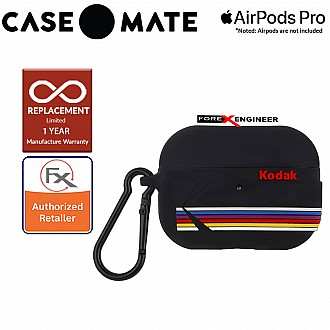 Case Mate Kodak Case for Airpods Pro - Matte Black with Kodak Stripes with Black Carabiner Clip ( Barcode : 846127191104 )