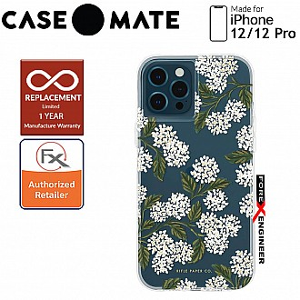 """Case Mate Rifle Paper Co. for iPhone 12 / 12 Pro  5G 6.1"""" - Hydrangea with MicroPel (Barcode: 846127196277 )"""