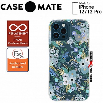 """Case Mate Rifle Paper Co. for iPhone 12 / 12 Pro  5G 6.1"""" - Garden Party Blue with MicroPel (Barcode: 846127196253 )"""