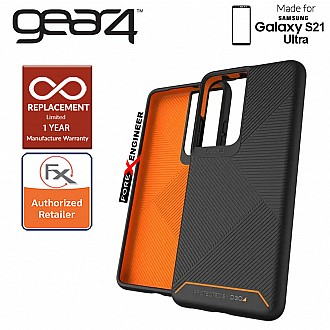 Gear4 Denali for Samsung Galaxy S21 Ultra- D3O Material Technology - Drop Resistant Up to 4 meters - Black (Barcode : 840056108547 )