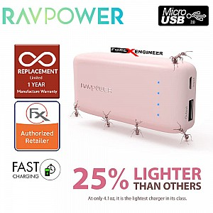 RavPower RP-PB060 Portable Charger 6700mAh - Candy bar Sized Pocket Power Bank ( Pink ) ( Barcode : 191280002553 )