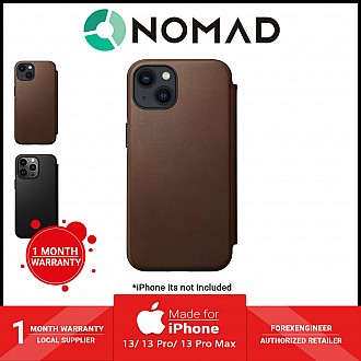 """Nomad Modern Leather Folio Rugged Case for iPhone 13 6.1"""" 5G - MagSafe Compatible - Rustic Brown (Barcode: 856500010731 )"""