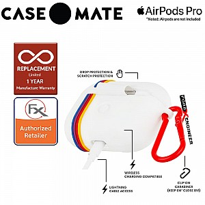 Case Mate Kodak Case for Airpods Pro - White with Kodachrome Stripes with Red Carabiner Clip ( Barcode : 846127191111 )