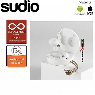 Sudio Fem IPX5 True Wireless Earbuds with 4 Environmental Noise-Canceling Microphones ( White ) ( Barcode : 7350071387252 )