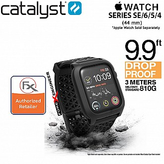 Catalyst Impact Protection Case with Sport Band for Apple Watch 44mm Series SE / 6 / 5 / 4 Buckle Edition ( Stealth Black ) (Barcode: 840625104802)