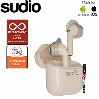Sudio Nio Wireless Earbuds with  Environmental Noise-Canceling Microphones ( Sand ) ( Barcode : 7350071384329 )
