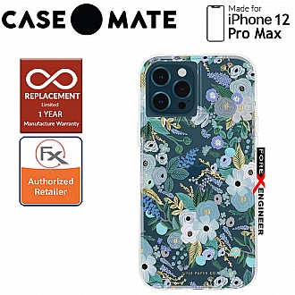 """Case Mate Rifle Paper Co. for iPhone 12 Pro Max 5G 6.7"""" - Garden Party Blue with MicroPel (Barcode: 846127195904 )"""