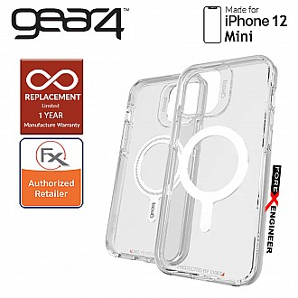 """Gear4 Crystal Palace Snap for iPhone 12 Mini 5G 5.4"""" - D3O Material Technology - Drop Resistant Up to 4 meters - Clear (Barcode : 840056138124 )"""