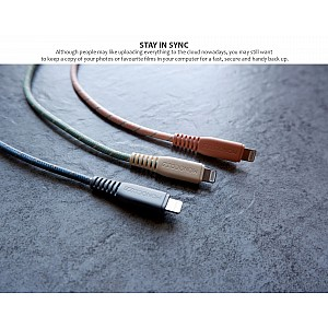 Monocozzi Motif Braided USB-C to Lightning Cable ( 25cm ) - Charcoal (Barcode: 4895199105355 )