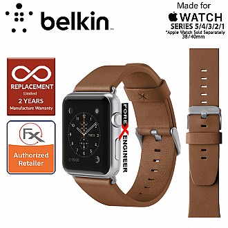 Belkin Classic Leather Band for Apple Watch Series 5 / 4 / 3 / 2 / 1 ( 38mm / 40mm ) ( Tan ) ( Barcode : 745883723720 )
