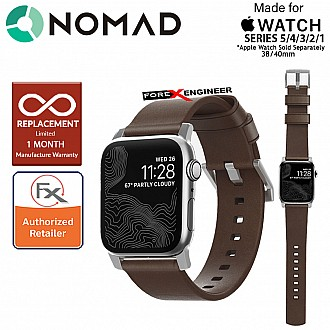 Nomad Modern Leather Strap Apple Watch Series 5 / 4 / 3 / 2 / 1 - 40mm / 38mm ( Rustic Brown Leather with Silver Hardware ) ( Barcode : 855848007489 )