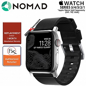 Nomad Active Strap Waterproof Black Leather for Apple Watch Series SE / 6 / 5 / 4 / 3 / 2 / 1 ( 44mm / 42mm ) ( Silver Hardware ) ( Barcode : 856500018324 )