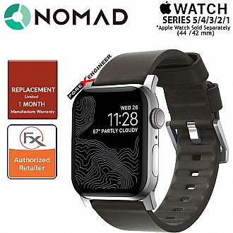 Nomad Active Strap Waterproof Mocha Brown Leather for Apple Watch Series SE / 6 / 5 / 4 / 3 / 2 / 1 ( 44mm / 42mm ) ( Silver Hardware ) ( Barcode : 856500018331 )