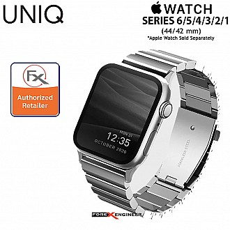 """UNIQ Strova Stainless Steel Watch Band for Apple Watch Series SE / 6 / 5 / 4 / 3 / 2 / 1 ( 44mm / 42mm ) - Premium 304 Stainless Steel - Silver  ( Barcode : 8886463674253  )"""""""