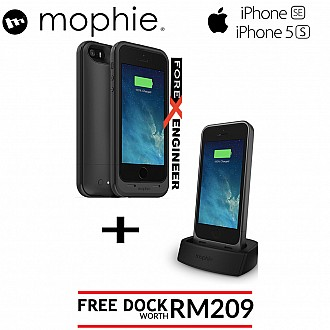 Mophie Juice Pack Plus 2100mah for iphone 5 / 5S / SE bundled with Mophie Juice Pack Dock for iPhone 5 / 5S / SE - both black color