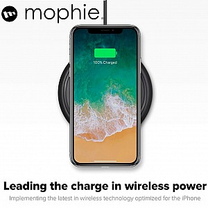 Mophie Wireless Charging Base 7.5W wireless technology for Qi-enabled Device (round shape) - Apple Optimized - Black (wireless charging station)