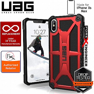 UAG Monarch for iPhone Xs Max Feather-Light Rugged & Military Drop Tested - Crimson color