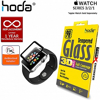 HODA Screen Protector for Apple Watch 38mm - 3D Full Coverage Tempered Glass  - Black