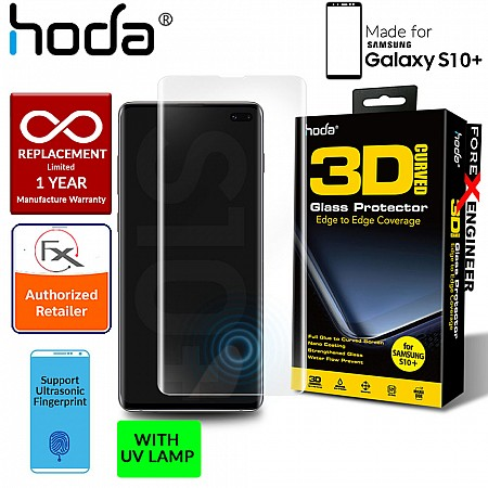 Hoda Screen Protector for Samsung Galaxy S10+ / S10 Plus - 3D Full UV Glue Tempered Glass with Ultrasonic Fingerprint Function ( Light INCLUDED)