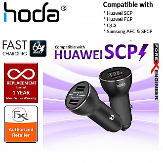 HODA Smart Fast Car Charger Compatible with Huawei SCP (SuperCharge), Huawei FCP (FastCharge), QC3, Samsung AFC & SFCP