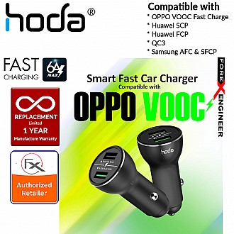 HODA Smart Fast Car Charger Compatible with Oppo VOOC Fast Charge, Huawei SCP (SuperCharge), Huawei FCP (FastCharge), QC3, Samsung AFC & SFCP