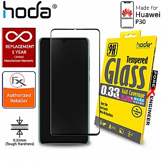 Hoda Tempered Glass for Huawei P30 - 2.5D 0.33mm Full Coverage Screen Protector - Black