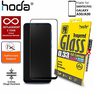 Hoda Tempered Glass for Samsung Galaxy A50/A30 - 2.5D 0.33mm Full Coverage Screen Protector - Black