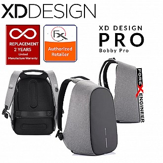 XD Design Bobby Pro Anti-Theft Backpack with Extensible Key Chain & Cutproof Material - Grey