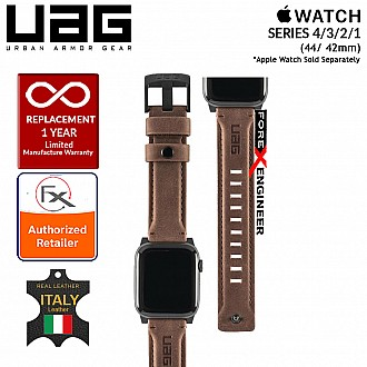 UAG Leather Strap for Apple Watch Series SE / 6 / 5 /  4 / 3 / 2 / 1 - 44mm / 42mm - Made with Italian Leather - Brown