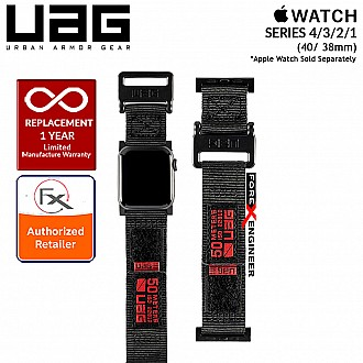 UAG Active Strap for Apple Watch Series 4 / 3 / 2 / 1 - 40mm / 38mm - High Strength Nylon Weave - Black