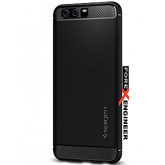 Spigen Rugged Armor Huawei P10 Case with Resilient Shock Absorption and Carbon Fiber Design for Huawei P10 - Black