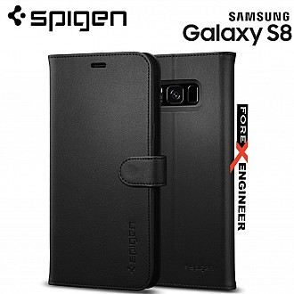 Spigen Wallet S Case for Samsung Galaxy S8 with Foldable Cover and Kickstand Feature - Black