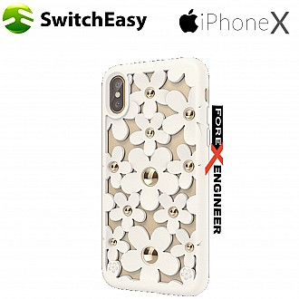 SwitchEasy Fleur for iPhone X / Xs - 3D Flowers Protective TPU Case - White
