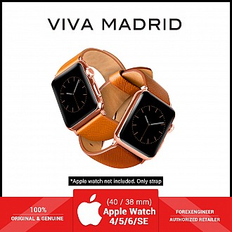 VIVA MADRID Montre Duo Leather Strap for Apple Watch Series SE / 6 / 5 / 4 / 3 / 2 / 1 ( 40mm / 38mm ) - Orange & Brown (Barcode: 8886461234589 )