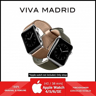 VIVA MADRID Montre Duo Leather Strap for Apple Watch Series SE / 6 / 5 / 4 / 3 / 2 / 1 ( 40mm / 38mm ) - Green & Beige (Barcode: 8886461234572 )