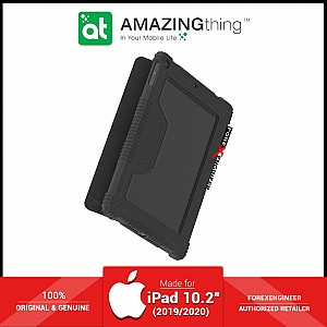 """AmazingThing Military Drop Proof Case for iPad 10.2"""" (2020) / 10.2 inch 7th Gen ( 2019 ) - Antimicrobial Case - Black (Barcode: 4892220389371 )"""