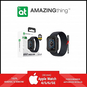 AmazingThing Impact Shield Pro for Apple Watch for Series SE / 6 / 5 / 4 ( 44mm) - Anti Bacterial proctective case with screen protector - Matte Black (Barcode: 4892878064095)