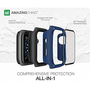 AmazingThing Impact Shield Pro for Apple Watch for Series SE / 6 / 5 / 4 ( 40mm) - Anti Bacterial proctective case with screen protector - Matte Black (Barcode: 4892878064095)