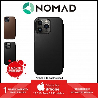 """Nomad Modern Leather Folio Rugged Case for iPhone 13 6.1"""" 5G - MagSafe Compatible - Black (Barcode: 856500010779 )"""