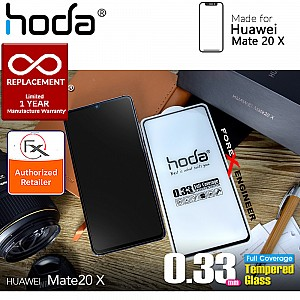 Hoda Tempered Glass Screen Protector for Huawei Mate 20 X - 2.5D 0.33mm Full Coverage Screen Protector - Black
