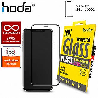 Hoda 2.5D 0.33mm Clear Full Coverage Tempered Glass Screen Protector for iPhone X / Xs - Black