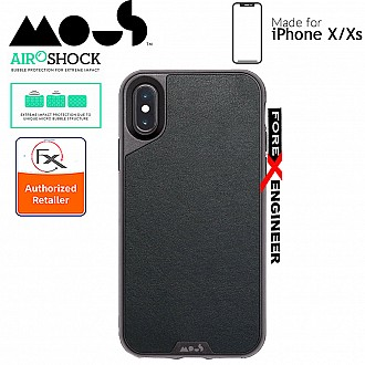 MOUS LIMITLESS 2.0 Case for iPhone X compatible with iPhone Xs - AiroShock extremely shockproof protective - Black Leather