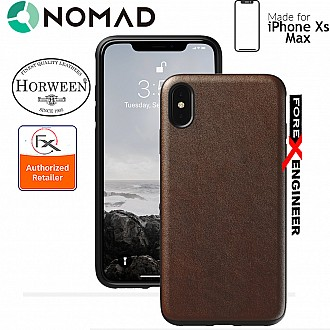 Nomad Rugged Case for iPhone Xs Max - Genuine Horween Leather from USA - Rustic Brown